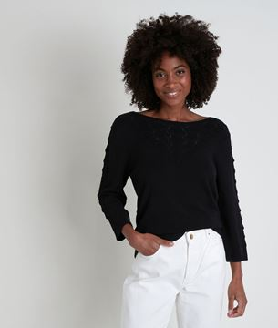 Picture of ANNAH BLACK OPENWORK JUMPER