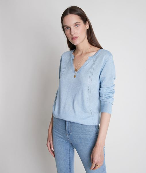 Picture of TRAVYS BLUE FINE KNIT JUMPER WITH HENLEY COLLAR