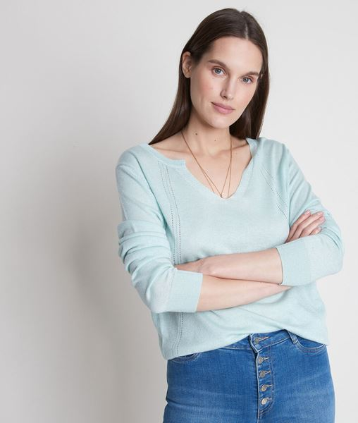 Picture of TRAVYS JADE FINE KNIT JUMPER WITH HENLEY COLLAR