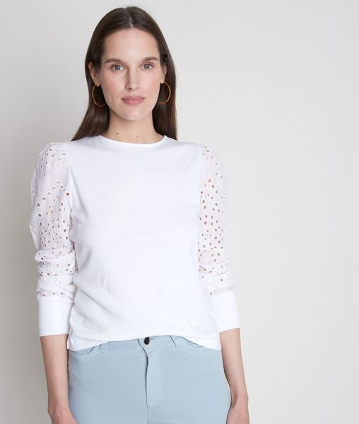 Picture of ELODIE WHITE COTTON T-SHIRT WITH EMBROIDERED SLEEVES