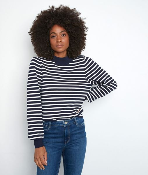 Picture of TELMA BLUE AND WHITE SUSTAINABLE VISCOSE BRETON JUMPER