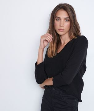 Picture of THÉA WAVY DUAL-FABRIC V-NECK JUMPER