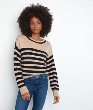 Picture of TIFFANY BEIGE AND BLUE STRIPE WOOL AND CASHMERE JUMPER