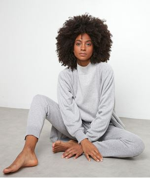 Picture of TIBO GREY MARL HIGH COLLAR JUMPER