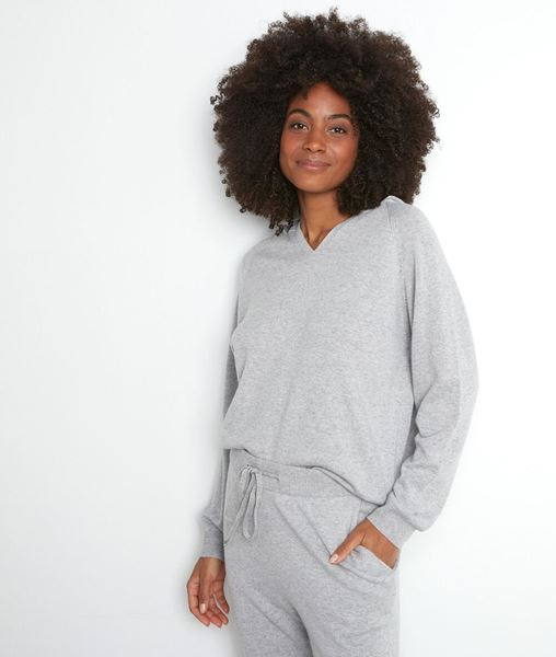 Picture of THOM GREY MARL KNIT HOODED JUMPER