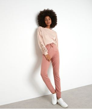 Picture of ERIKA PASTEL PINK SWEATSHIRT WITH LACE INSERT