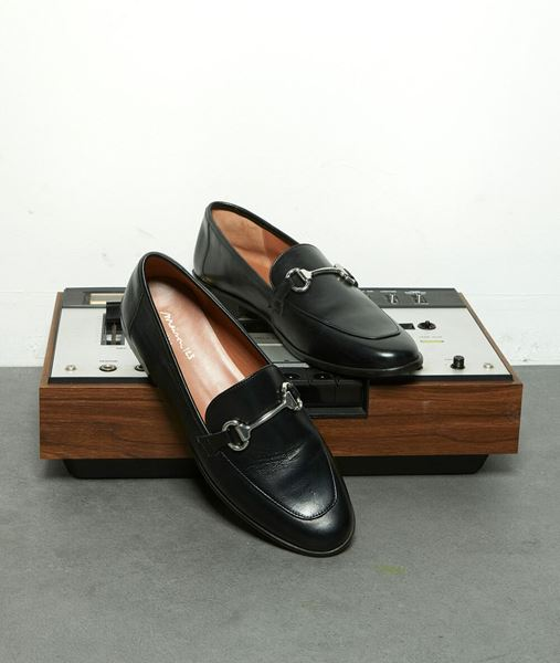 Picture of HANNAH BLACK LEATHER LOAFERS WITH BUCKLE