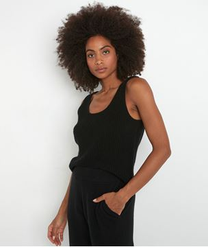 Picture of TEVA BLACK RECYCLED CASHMERE TANK TOP