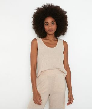 Picture of TEVA BEIGE RECYCLED CASHMERE TANK TOP
