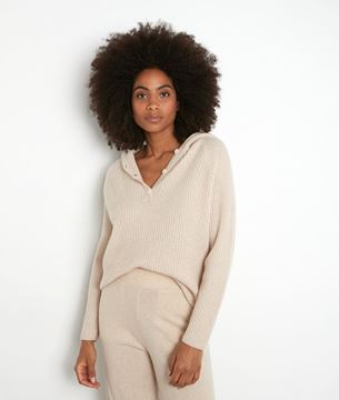 Picture of TEDDY BEIGE RECYCLED CASHMERE HOODED JUMPER