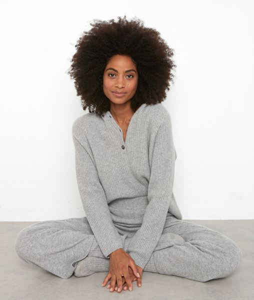 Picture of TEDDY LIGHT GREY RECYCLED CASHMERE HOODED JUMPER