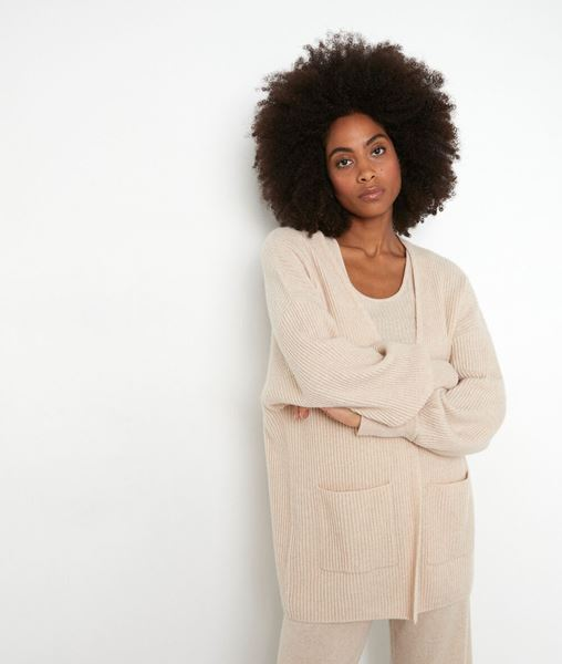 Picture of THYLYAN LONG BEIGE RECYCLED CASHMERE CARDIGAN