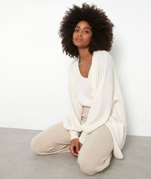Picture of THYLYAN LONG ECRU RECYCLED CASHMERE CARDIGAN