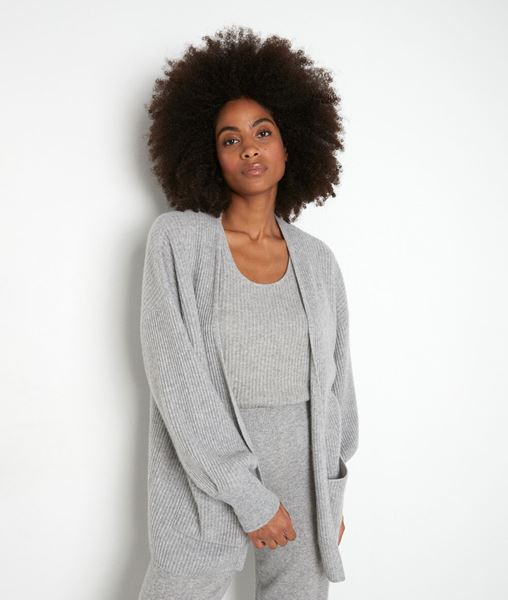 Picture of THYLYAN LONG LIGHT GREY RECYCLED CASHMERE CARDIGAN