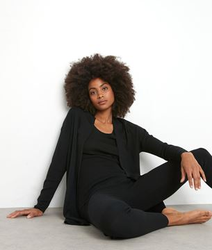Picture of TIAGO LONG BLACK RIBBED CARDIGAN IN RECYCLED WOOL