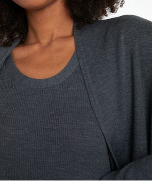 Picture of TIAGO LONG ANTHRACITE GREY RIBBED CARDIGAN IN RECYCLED WOOL
