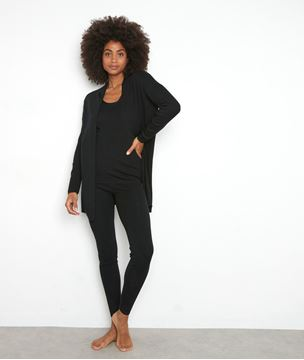 Picture of TAYRON BLACK RIBBED RECYCLED WOOL T-SHIRT WITH LONG SLEEVES