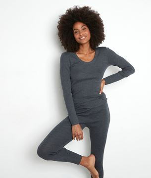 Picture of TAYRON ANTHRACITE GREY RIBBED RECYCLED WOOL T-SHIRT WITH LON