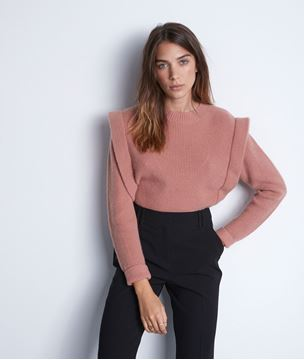 Picture of TINA OLD ROSE KNITTED JUMPER WITH SHOULDER PADS
