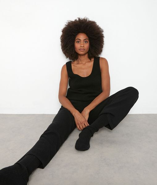 Picture of TANIS WIDE BLACK RECYCLED CASHMERE TROUSERS