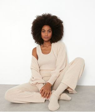 Picture of TANIS WIDE BEIGE RECYCLED CASHMERE TROUSERS