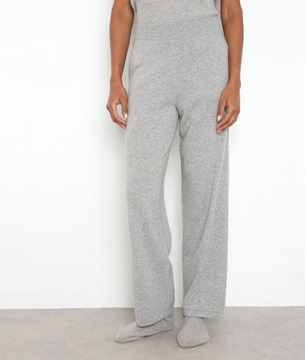 Picture of TANIS WIDE LIGHT GREY RECYCLED CASHMERE TROUSERS